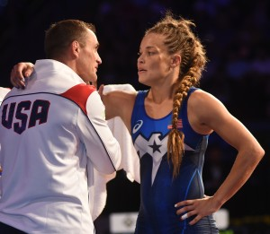 Leigh Jaynes-Provisor, a member of the U.S. Army's World Class Athlete Program, received instruction from her coach Aaron Sieracki en route to capturing a bronze medal in women's freestyle. (Ginger Robinson photo)