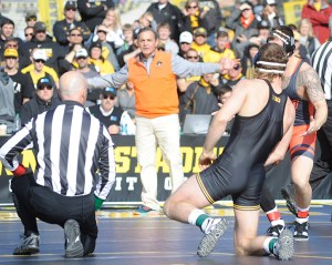 Oklahoma State head coach John Smith questioned why officials stopped action when Kyle Crutchmer put Alex Meyer on his back at 174 pounds. (Ginger Robinson photo)