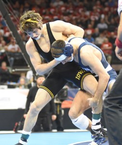Penn State's Nico Megaludis ended his career with a first-ever championship after finishing second in 2011 and '12. (Ginger Robinson photo).