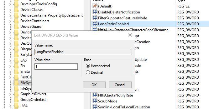 Des noms de fichiers de plus de 260 caractères dans Windows 10