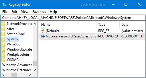 Disable-Security-Questions-Requirement-Windows-10