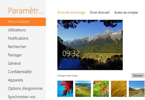 Modification de l'écran de verrouillage de Windows 8