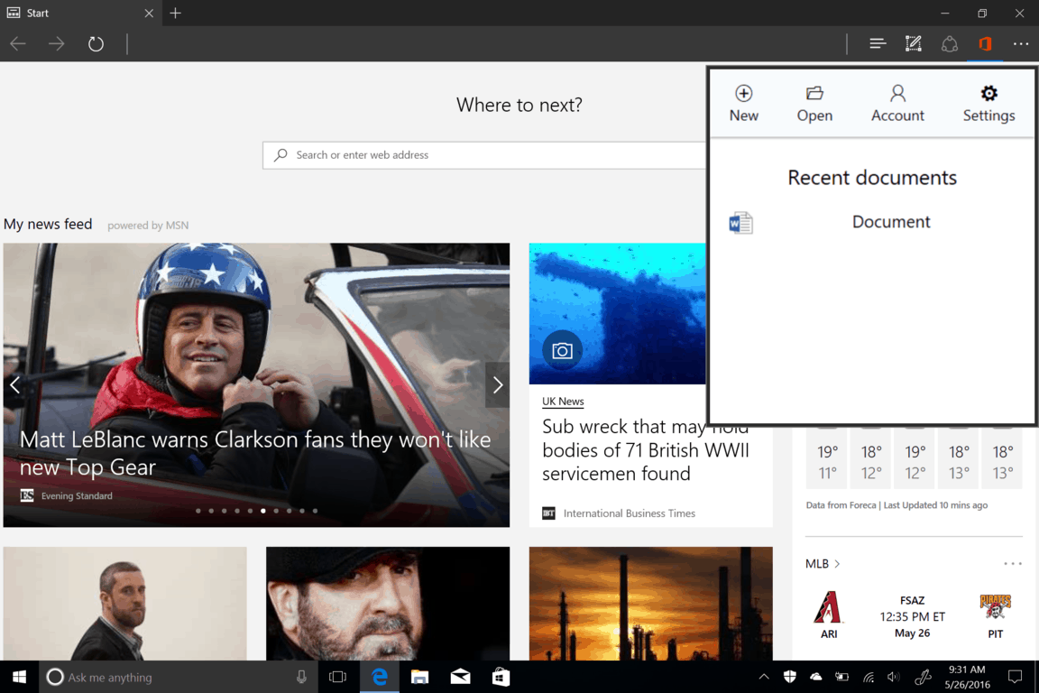Screenshot-15 Office Online extension for Edge brings Office to your address bar