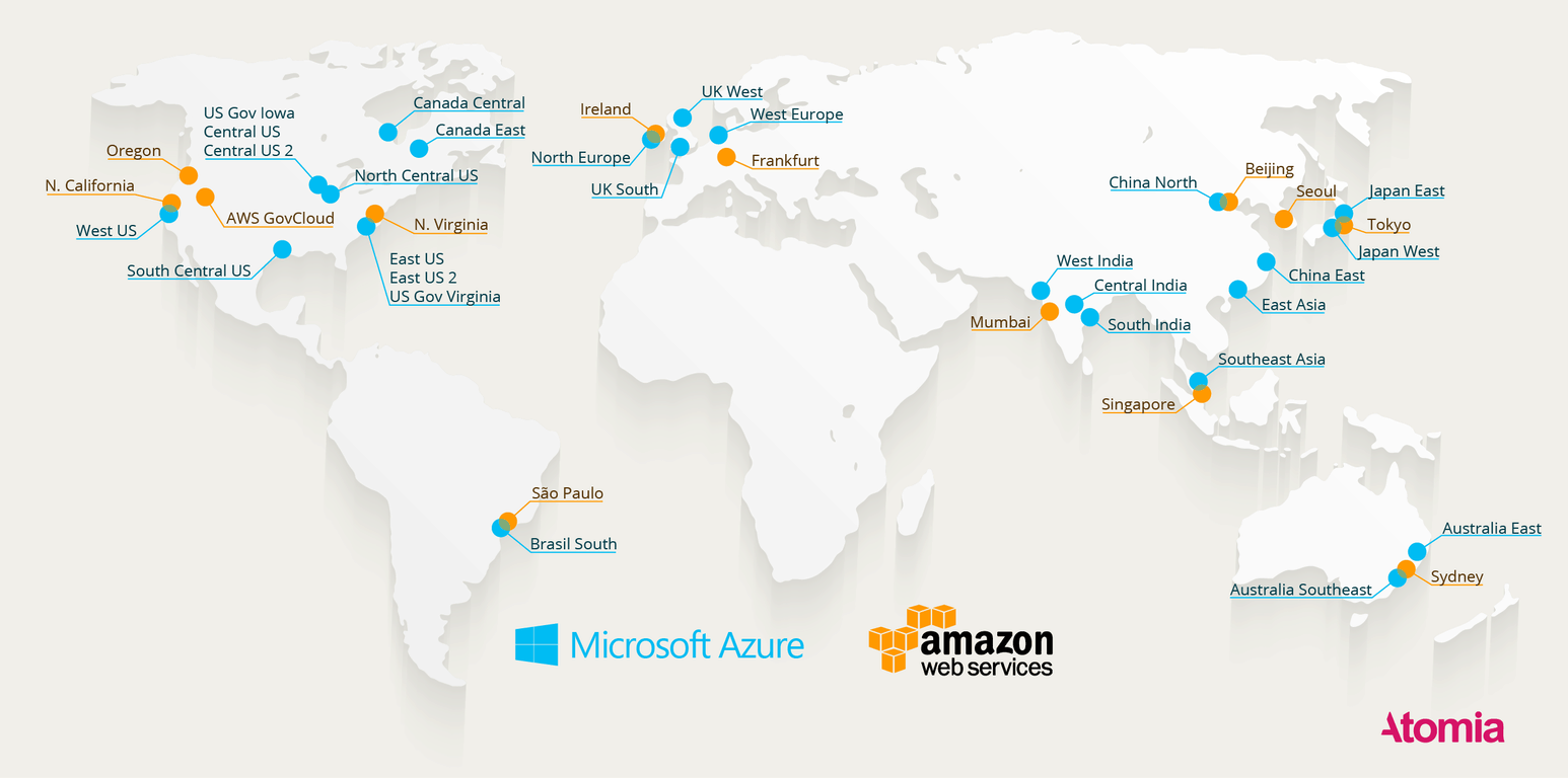 Where are the datacenters? Here\'s a map of all the Azure and AWS ...