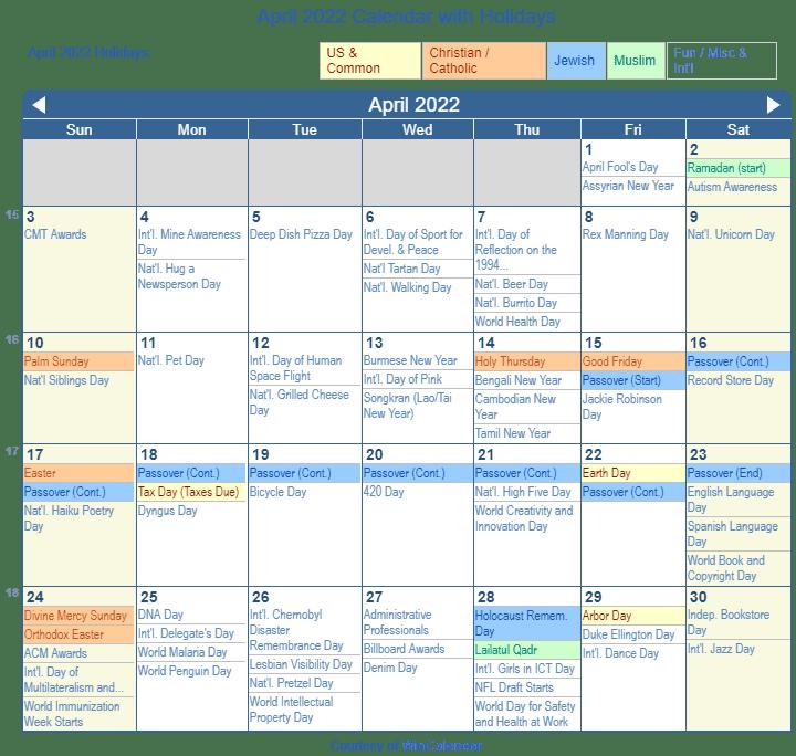 Print Friendly April 2022 US Calendar for printing