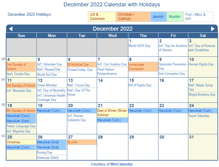 Print Friendly December 2022 US Calendar for printing
