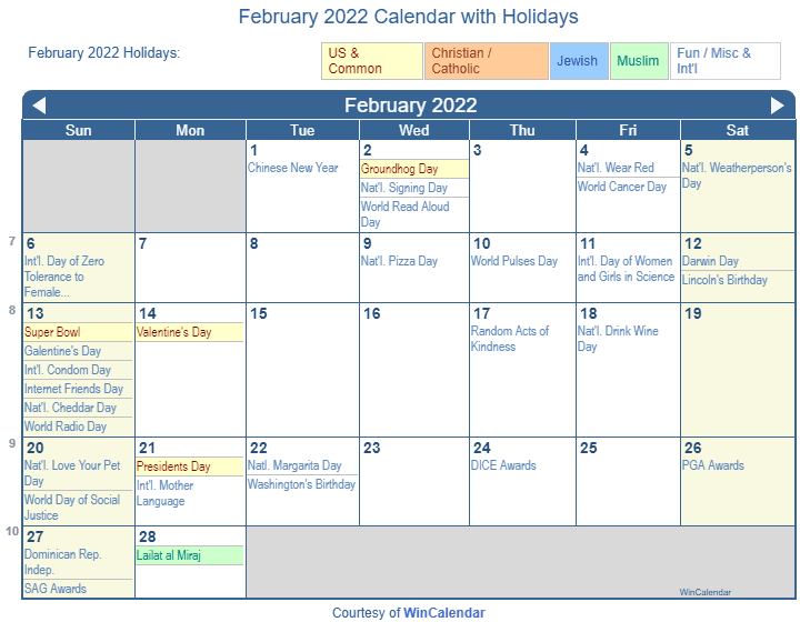 Print Friendly February 2022 US Calendar for printing