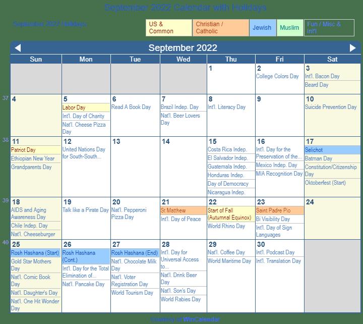 Print Friendly September 2022 US Calendar for printing