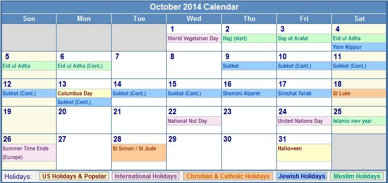 2014 Calendar With Jewish And Christian Holidays