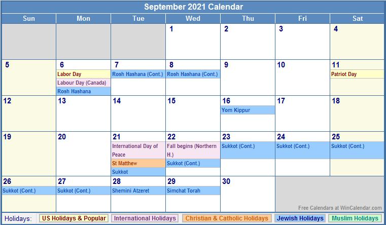 Calendar With Jewish Holiday | Calendar Template Maker