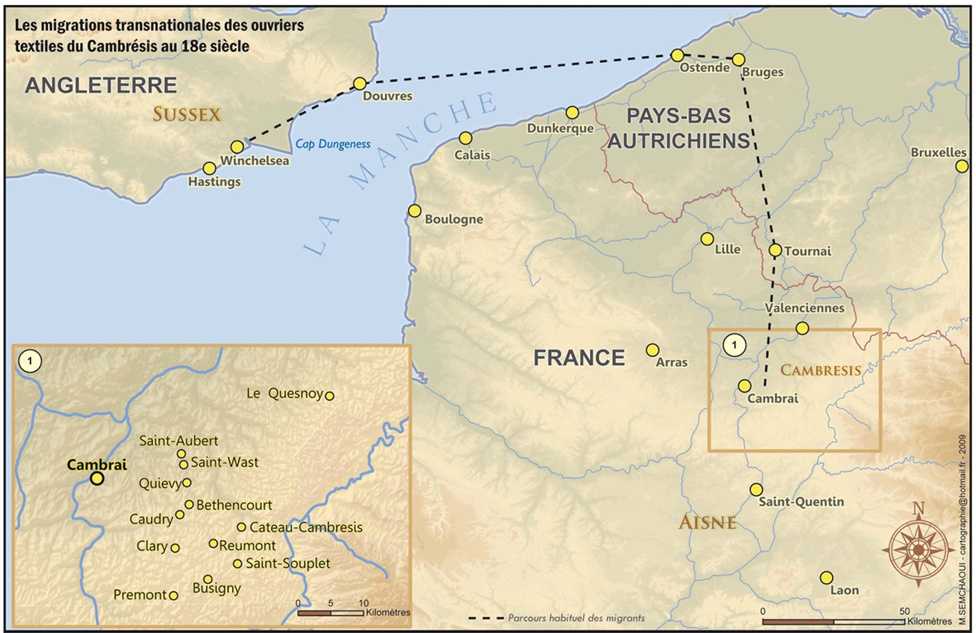 The route of the Huguenot migrants in 1760s