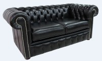 Black leather Chesterfield sofa UK | DesignerSofas4u