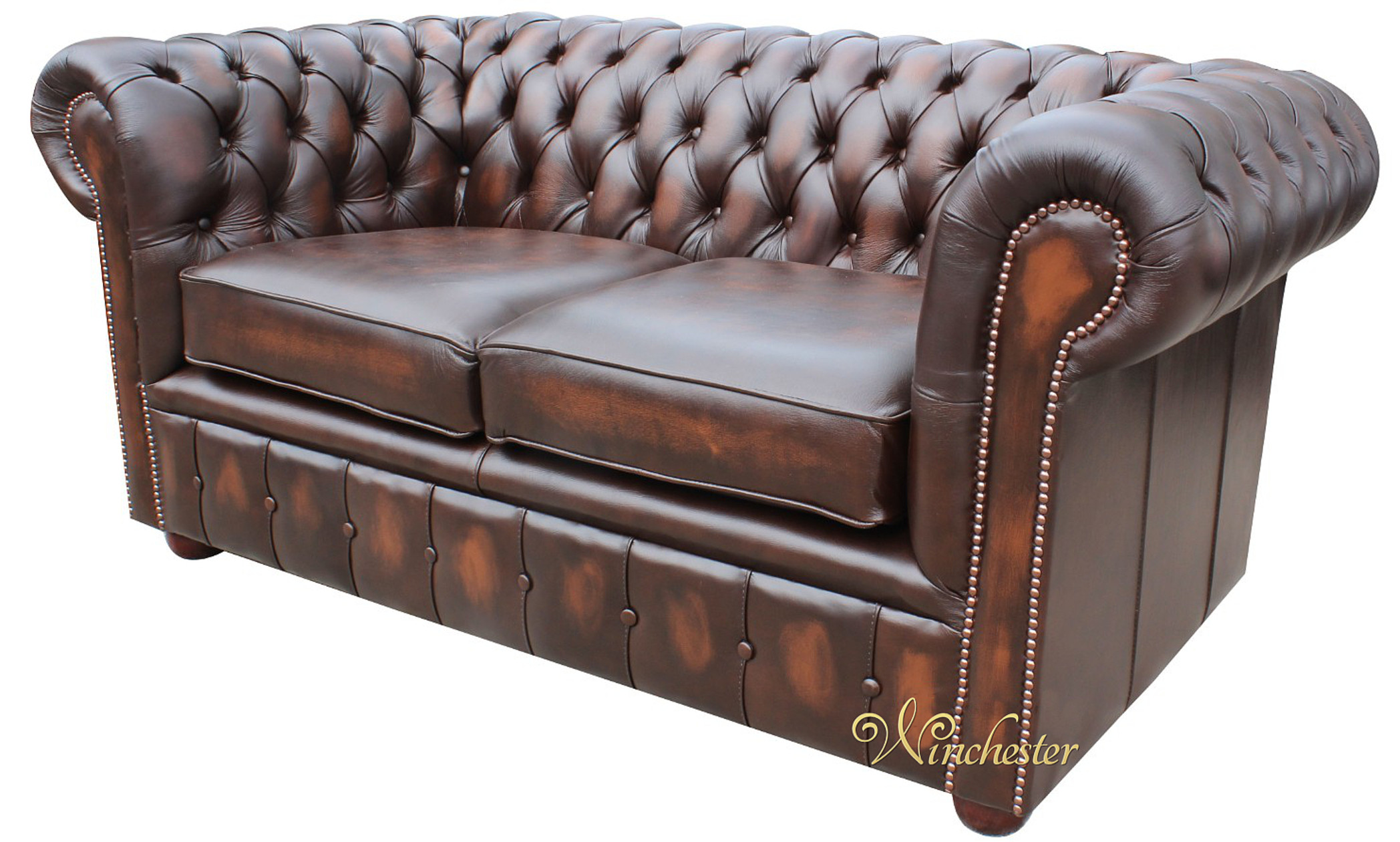 Chesterfield London 2 Seater Antique Brown Leather Sofa