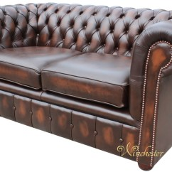 2 Seater Brown Sofa Leather Loveseat And Chesterfield London Antique