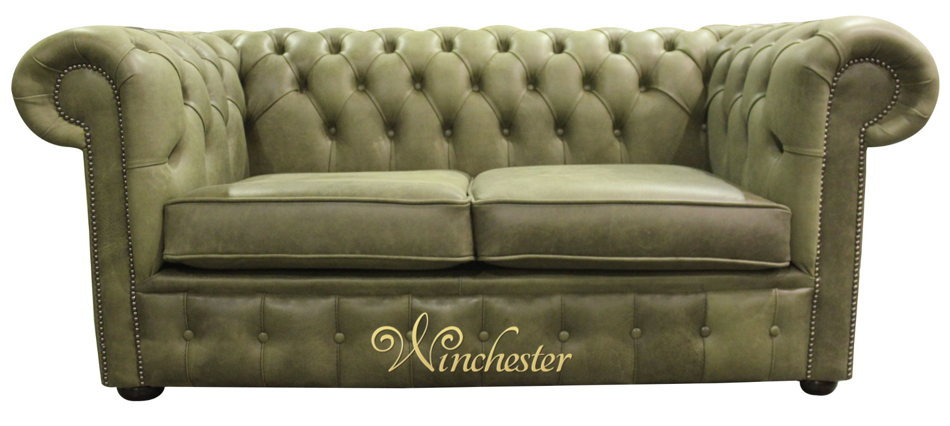 sage leather sofa seat cushions online chesterfield 2 seater settee selvaggio green