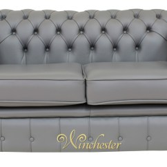 Grey Leather Chesterfield Sofa Furniture Singapore Bed 2 Seater Settee Vele Iron