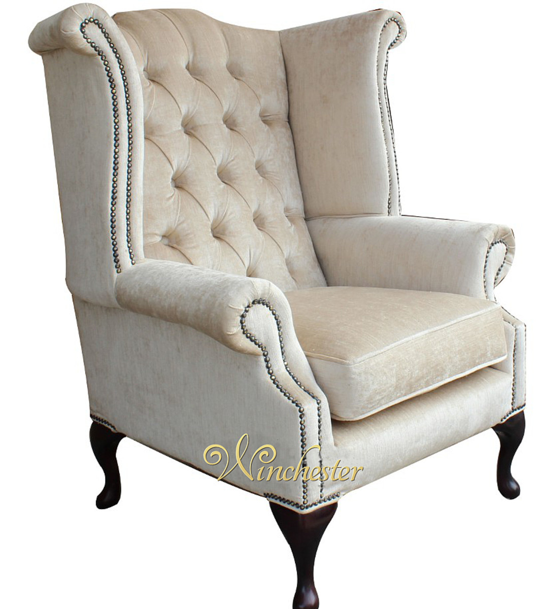 high back wing chairs outdoor lounge walmart chesterfield velvet queen anne chair perla