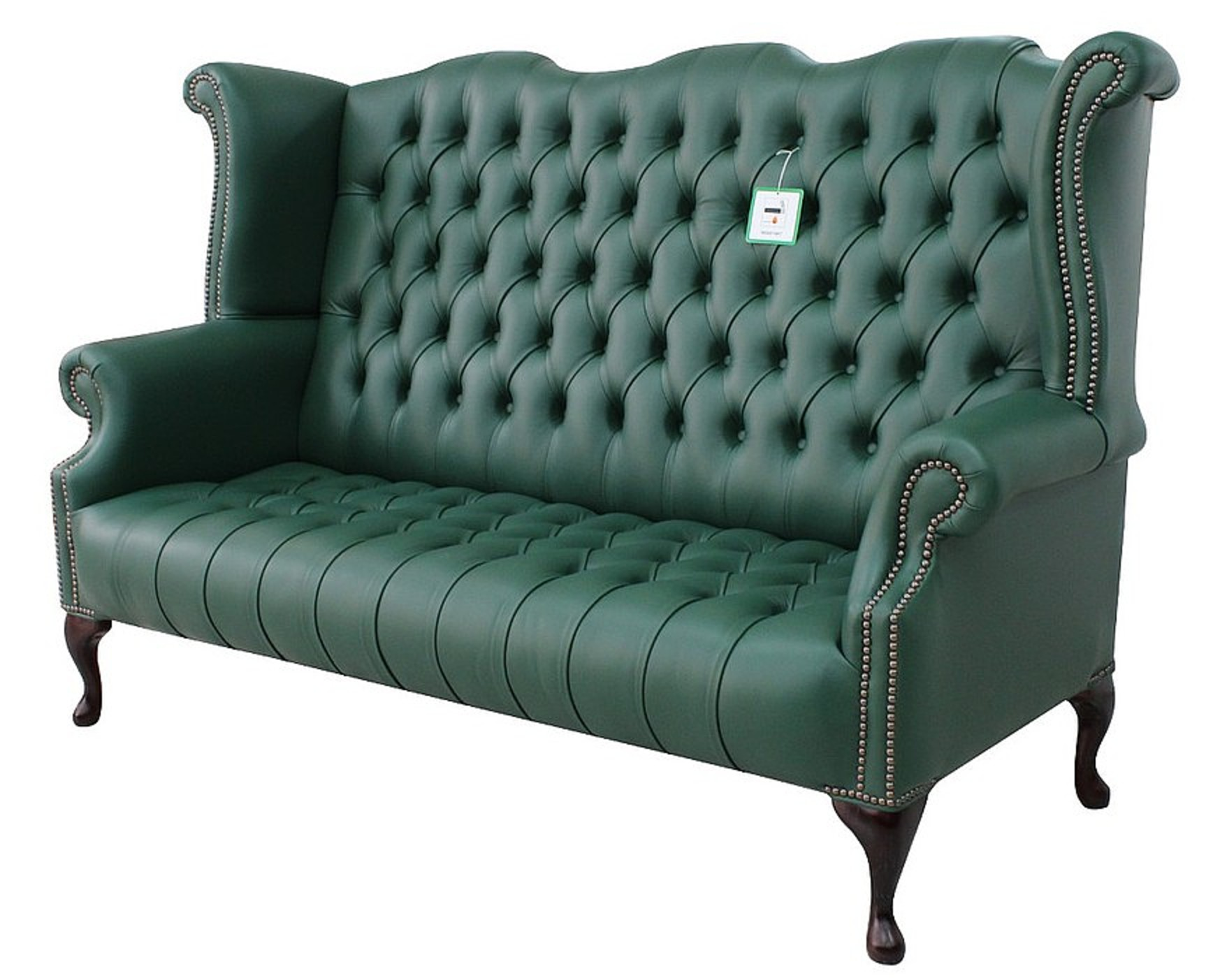 high back chesterfield sofa teddy bed green 3 seater wing designersofas4u queen anne buttoned seat bottle leather