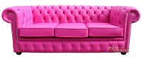 Chesterfield 3 Seater Sofa Settee Fuschsia Pink Leather ...