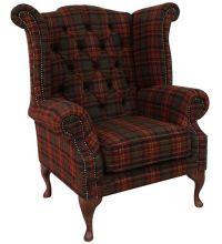 Chesterfield Queen Anne Wool Tweed Wing Chair Fireside ...