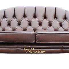 Brown Chesterfield Sofa Don Y Cia Zaragoza Victoria 3 Seater Leather Settee Antique