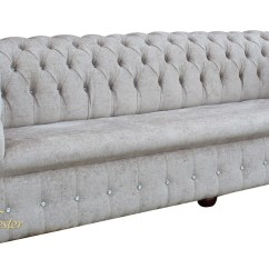 White Leather Chesterfield Sofa With Crystals Vancouver 3 And 2 Seater Recliner Swarovski Chester Right Corner
