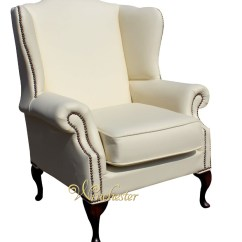 Queen Anne Style Chairs Comfy Reading Chair Chesterfield Mallory Saxon Flat Wing High Back Uk Manufactured Cottonseed Cream Leather