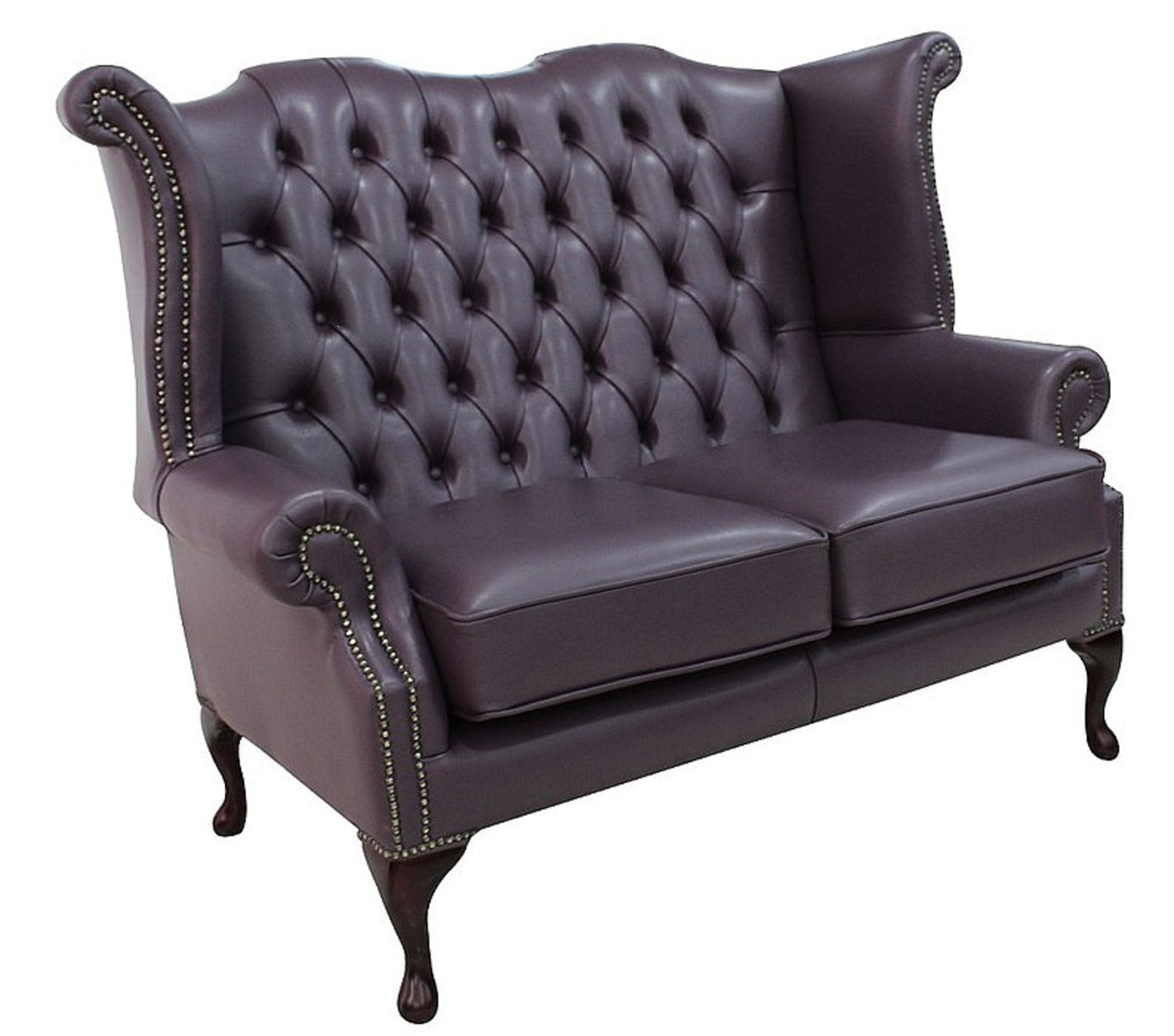 high back chesterfield sofa sleeper with recliner purple 2 seater wing designersofas4u queen anne hemmingway blueberry leather