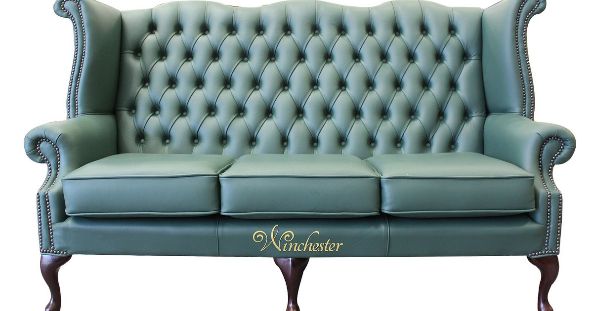 chesterfield style fabric sofa hideaway beds 3 seater queen anne high back wing jade ...