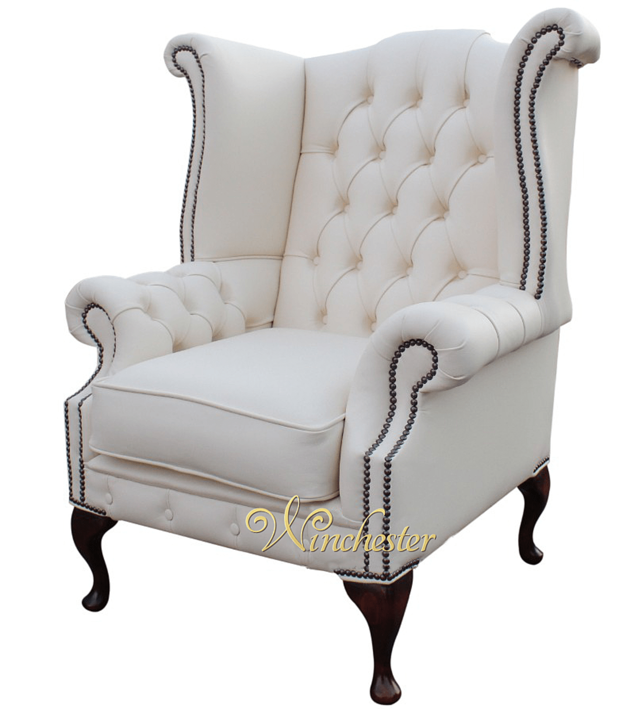 queen anne wingback chair leather wobble australia chesterfield chatsworth high back wing uk white armchair wc