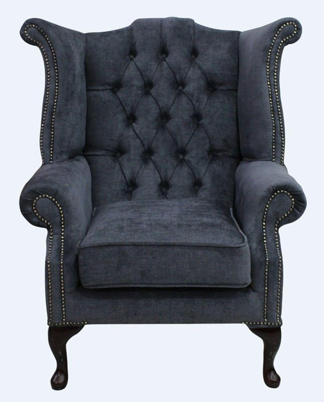 Grey Fabric Chesterfield High Back chair  DesignerSofas4U