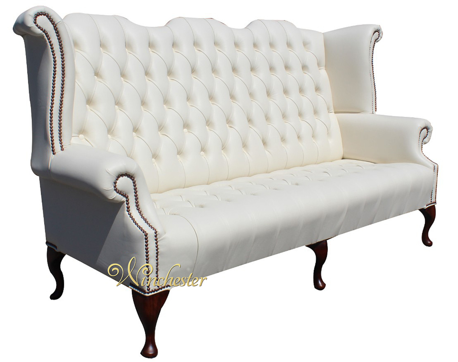 chesterfield sofa leather white sofas usados venda newby 3 seater queen anne high back wing ...