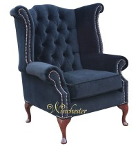 Chesterfield Fabric Queen Anne High Back Wing Chair Black ...