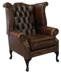 Antique Tan Chesterfield Queen Anne Wing chair ...