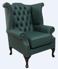 Green Chesterfield Queen Anne Wing chair | DesignerSofas4U