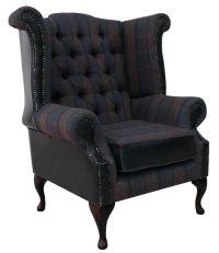 Plum Check Chesterfield Queen Anne High Back chair ...
