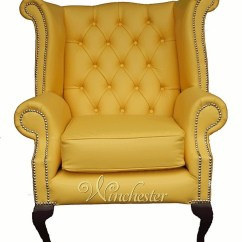 Wingback Chair Uk Most Expensive Baby High Chesterfield Queen Anne Back Wing Manufactured Yellow Leather Wc