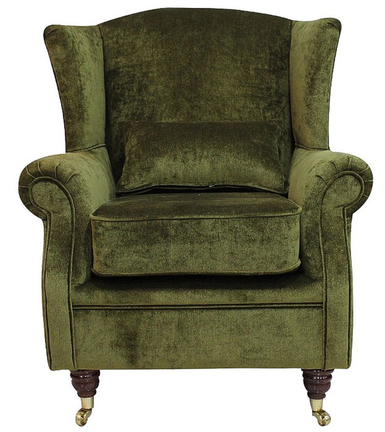 chesterfield style fabric sofa black table with wine rack wing chair fireside high back armchair velluto moss green ...