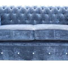 Blue Velvet Chesterfield Sofa Sectional Alligator Clips Swarovski Crystallized Diamond 2 Seater