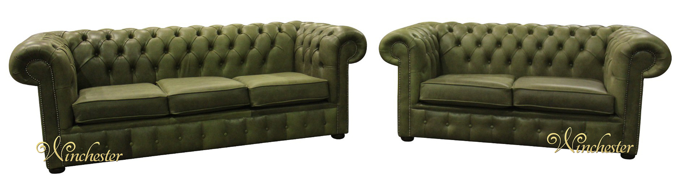 sage leather sofa wooden chair images chesterfield suite 3 2 seater settee selvaggio green wc