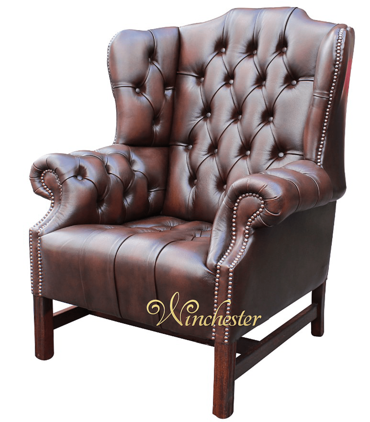 brown leather studded sofa stearns and foster bed chesterfield churchill high back wing chair uk ...