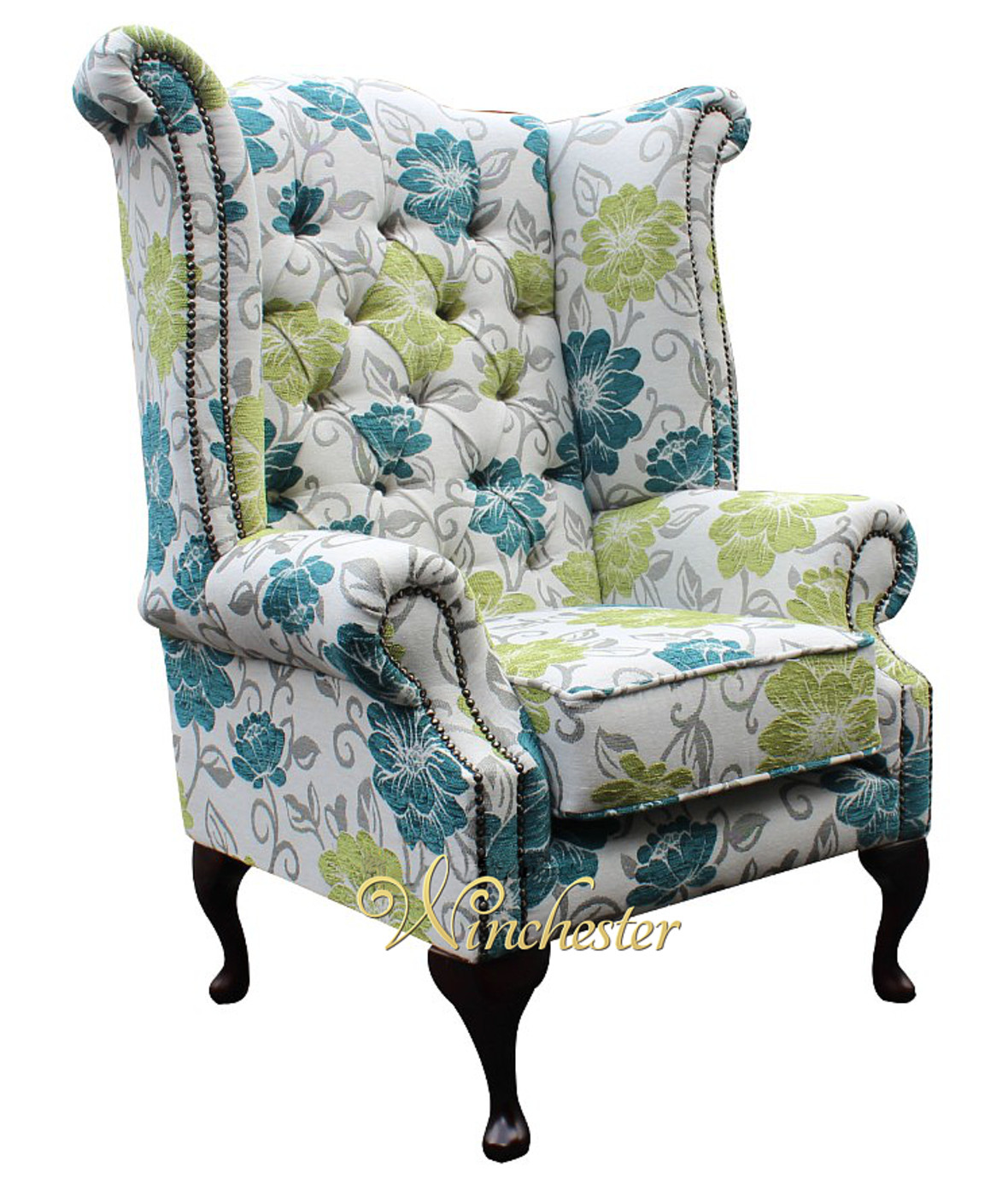 queen anne wing chair zero gravity chairs for sale chesterfield newby prince's high back floral summer teal