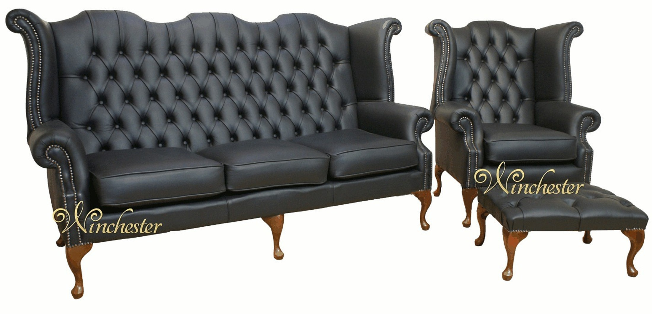 3 seater black leather sofa raymour flanigan chesterfield + queen anne high back wing chair uk ...