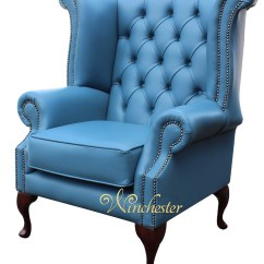 Queen Anne Wingback Chair Leather Wheelchair Vanity Chesterfield High Back Wing Soft Vele Cambridge Blue Wc