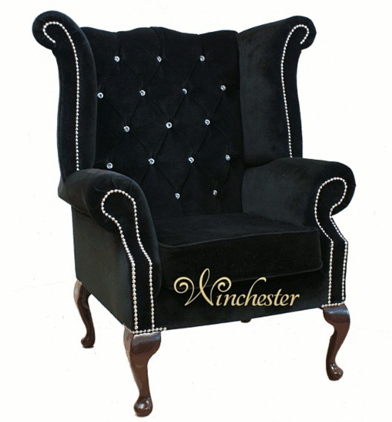 first high chair invented tub brown leather chesterfield swarovski queen anne back wing boutique black velvet, sofas ...