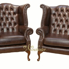 Queen Anne Wingback Chair Leather Pub Height Chairs Target Chesterfield Offer Pair High Back Wing Oil Pull Up Of Brown Wc