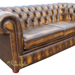 Gold Leather Sofa Set Lowyat Chesterfield 2 Seater Bed Antique