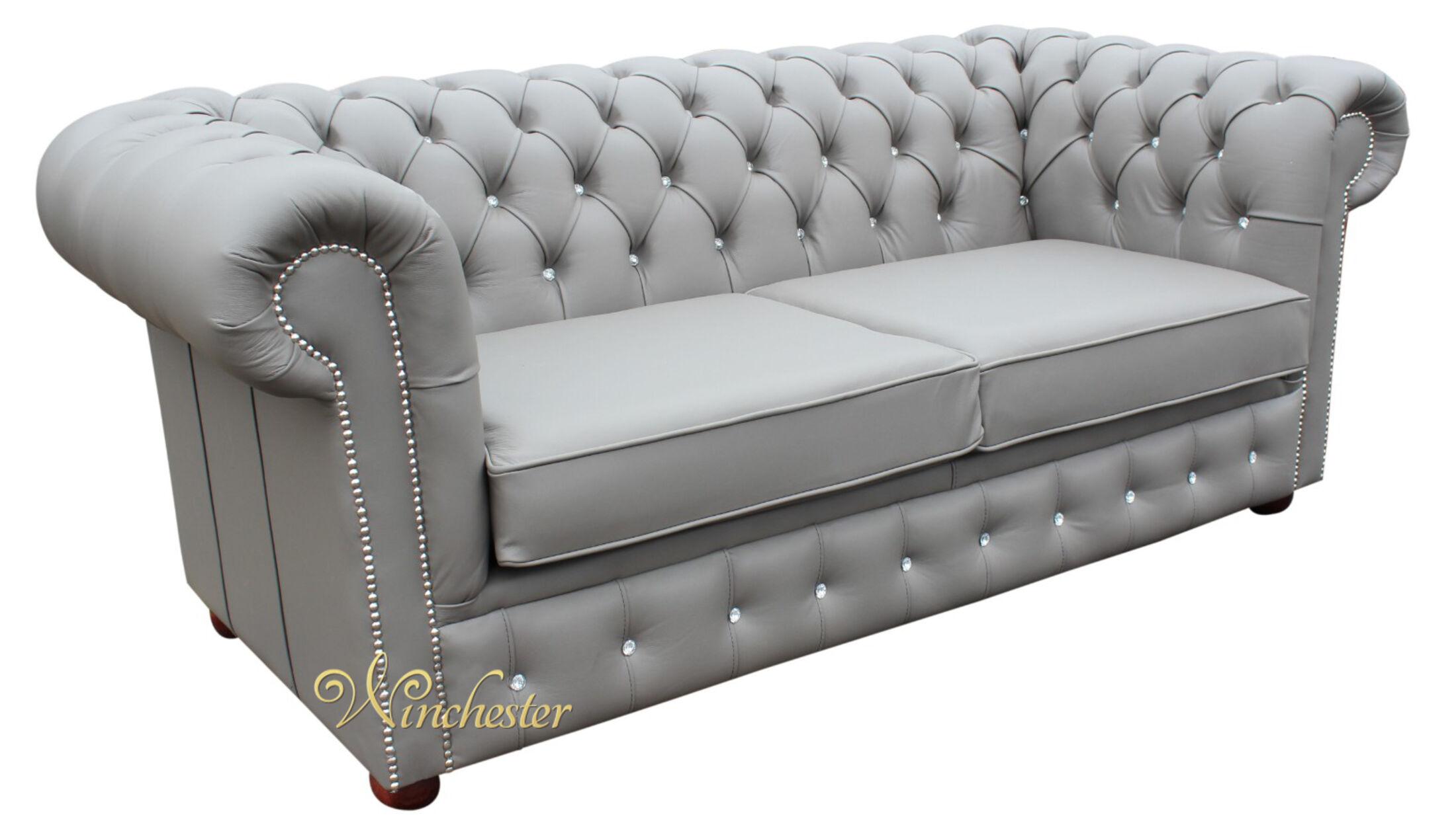 Chesterfield 2 Seater Sofa Bed Swarovski Crystallized Diamond Moon Mist Leather Offer