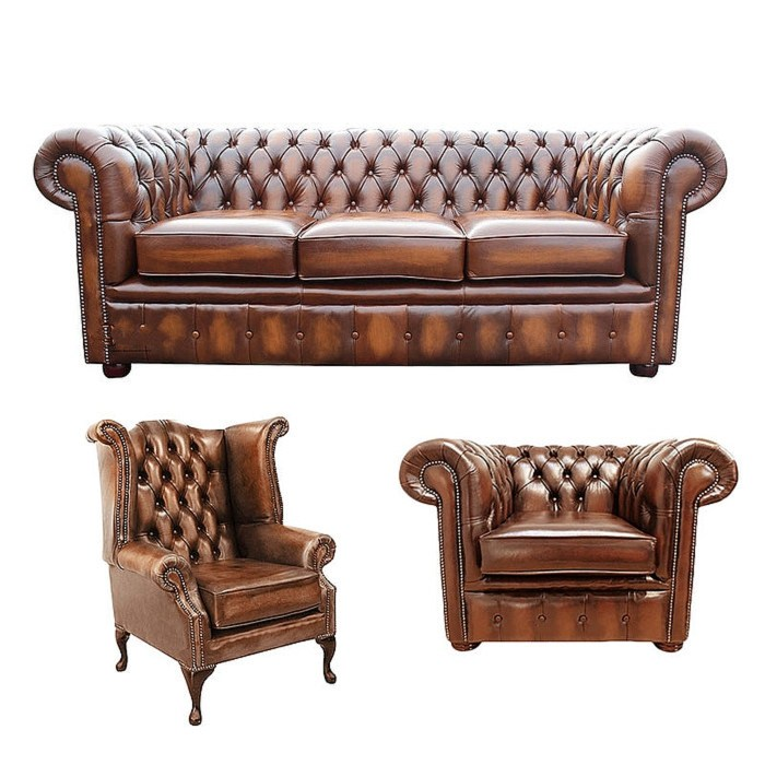 Chesterfield sofa 3 piece suite for Furniture 3 piece suites