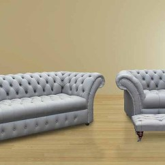 Chesterfield Sofa Buy Uk How To Clean Dirty Fabric At Home Leather Suite Made In Designersofas4u Balmoral 3 Seater Armchair Footstool Settee Buttoned Seat Silver Grey